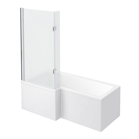 Milan Shower Bath - 1600mm L Shaped with Hinged Screen + Panel