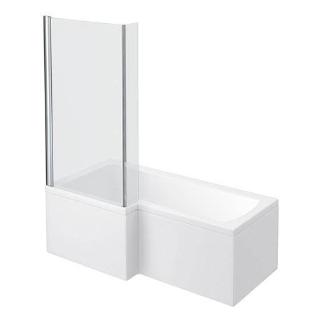 Milan L-Shaped Shower Bath 1600mm (Inc. Hinged Screen + Acrylic Panel)