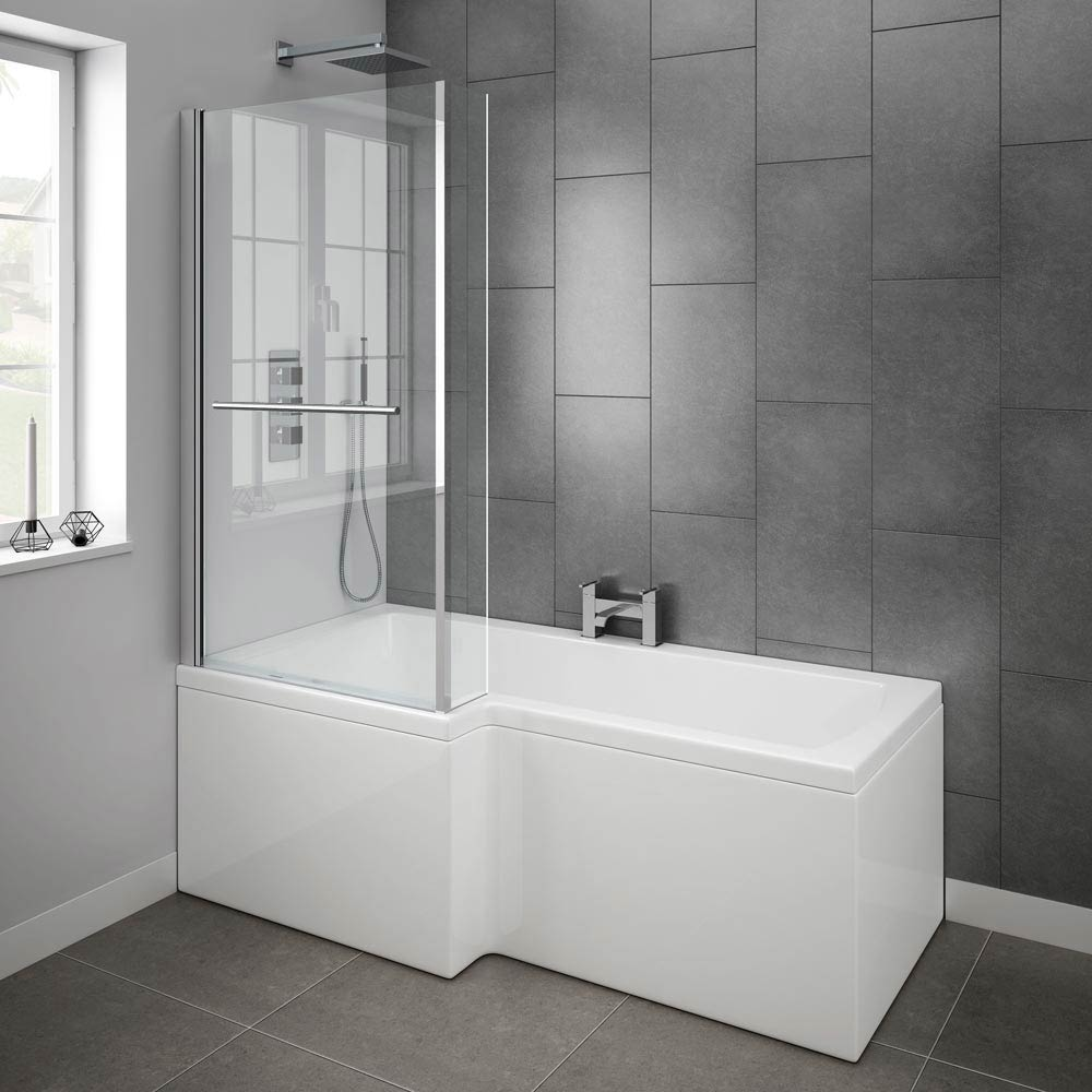 Milan Shower Bath - 1700mm L Shaped Inc. Screen with Rail + Panel  Standard Large Image