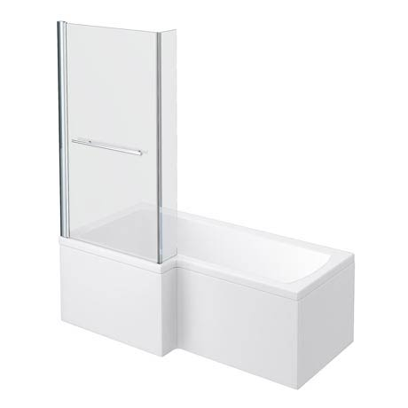 Milan Shower Bath - 1700mm L Shaped Inc. Screen with Rail + Panel
