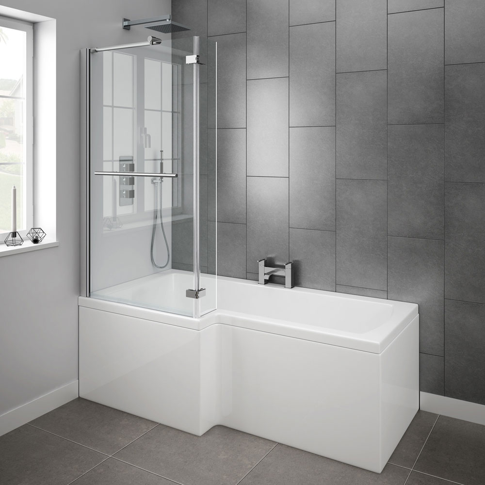 milan 1700mm l shaped shower bath with hinged screen l shaped shower bath 1700 x 850 mm with screen and panel