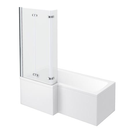 Milan Shower Bath - 1700mm L Shaped with Double Hinged Screen & Panel