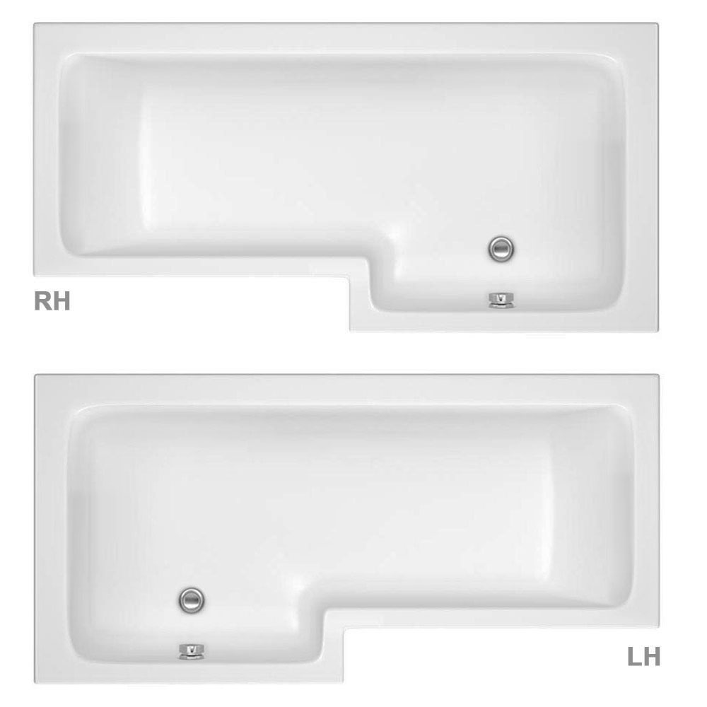 Milan Shower Bath - 1700mm L Shaped with Hinged Screen + Panel profile large image view 2