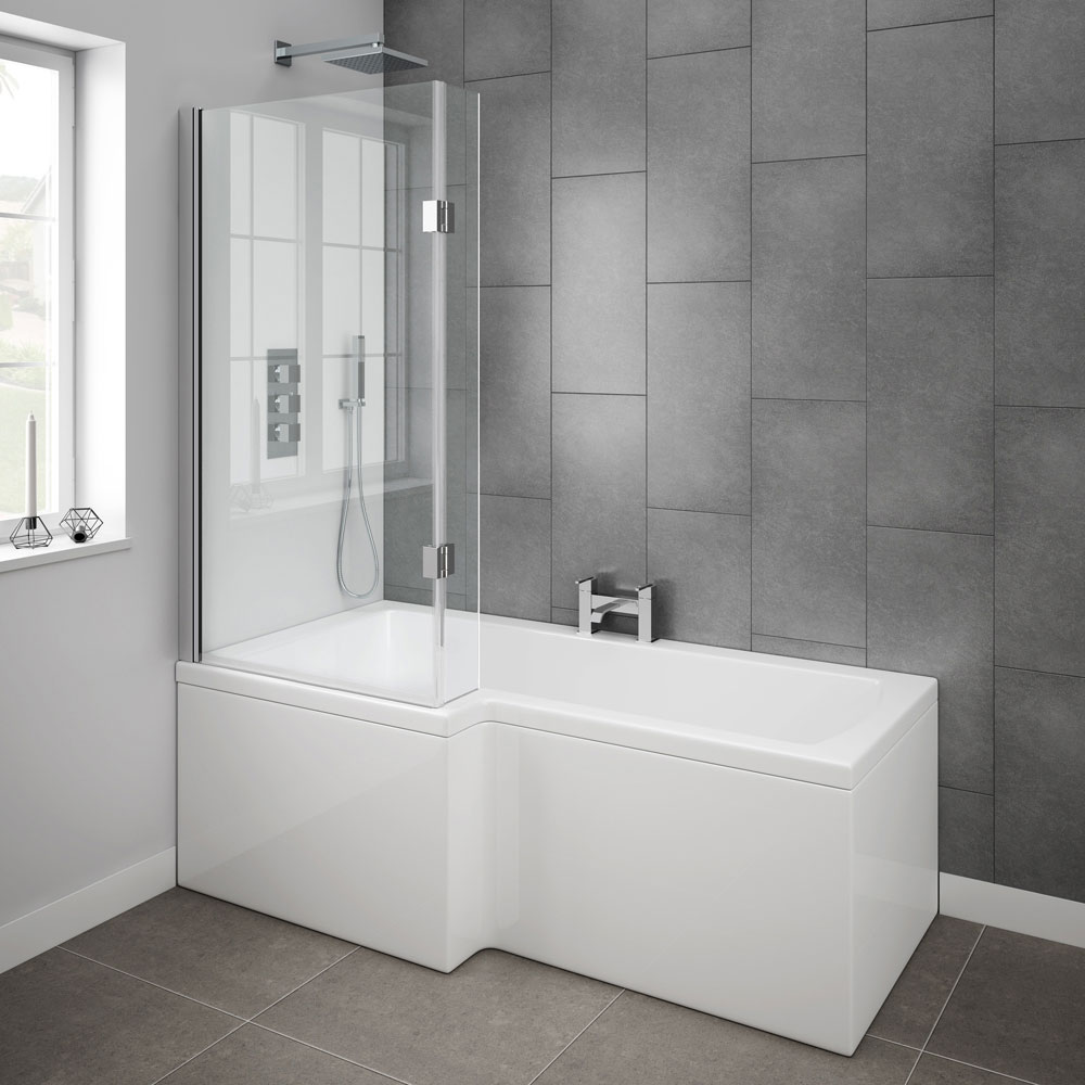 Milan Shower Bath - 1700mm L Shaped with Hinged Screen + Panel profile large image view 3