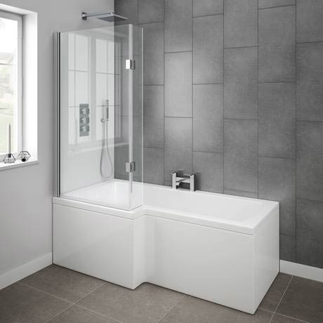 Milan Shower Bath 1700mm L Shaped With Hinged Screen