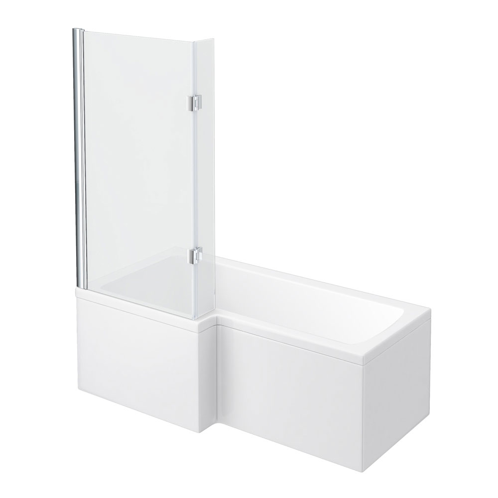 Milan Shower Bath - 1700mm L Shaped with Hinged Screen + Panel profile large image view 1