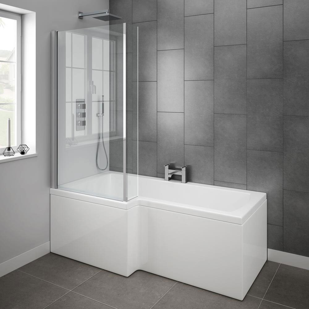 Milan Shower Bath - 1700mm L Shaped with Screen + Panel  | Victorian Plumbing
