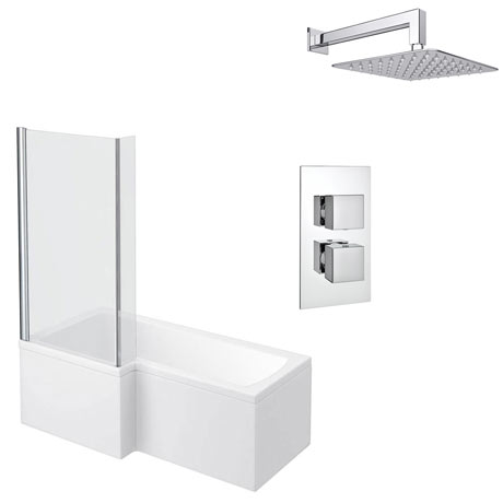 Milan Shower Bath + Concealed 1 Outlet Shower Pack (1700 L Shaped with Screen + Panel)