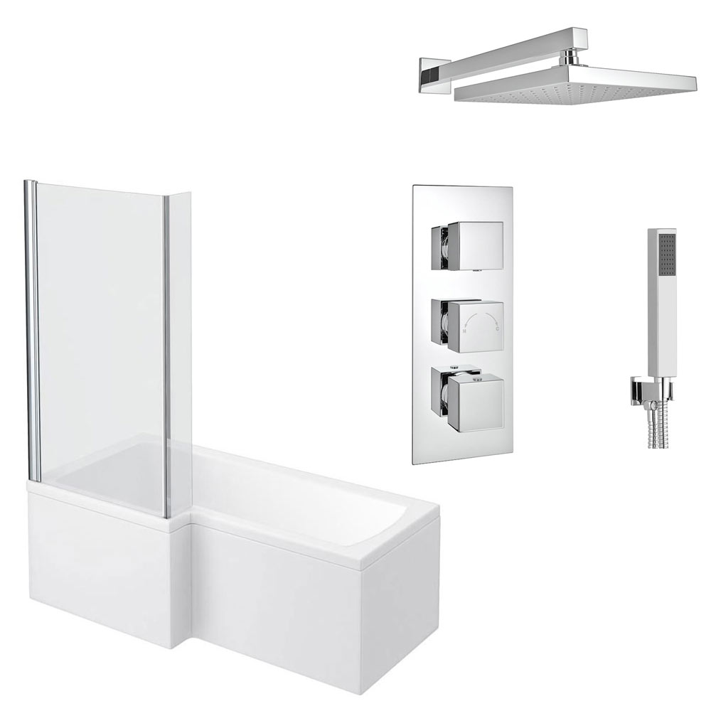 Milan Shower Bath + Concealed 2 Outlet Shower Pack (1700 L Shaped with Screen + Panel)