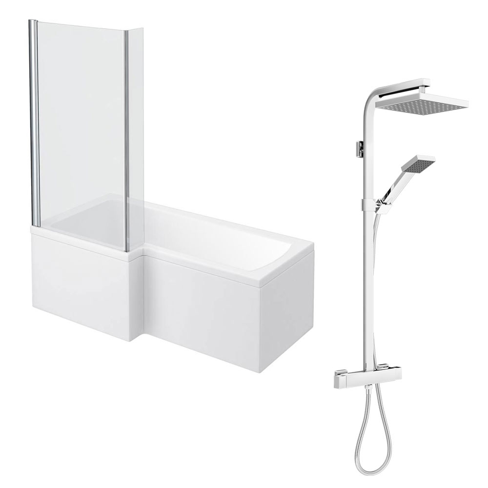 Milan Shower Bath + Exposed Shower Pack (1700 L Shaped with Screen + Panel)