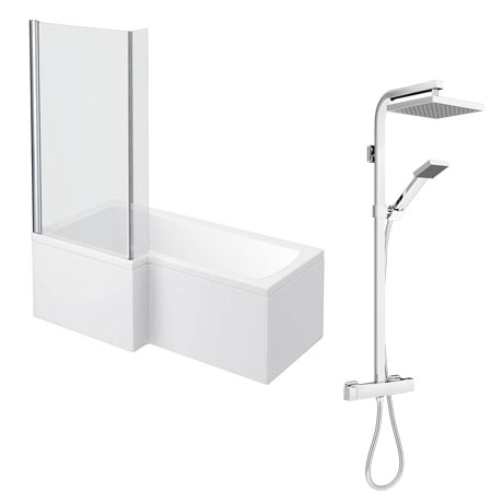 Milan Shower Bath + Exposed Shower (1700 L Shaped with Screen + Panel)
