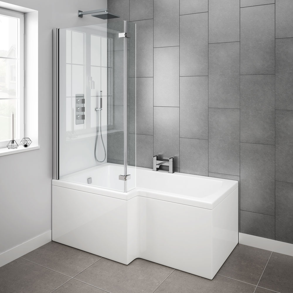 Milan Shower Bath 1500mm L Shaped With Hinged Screen