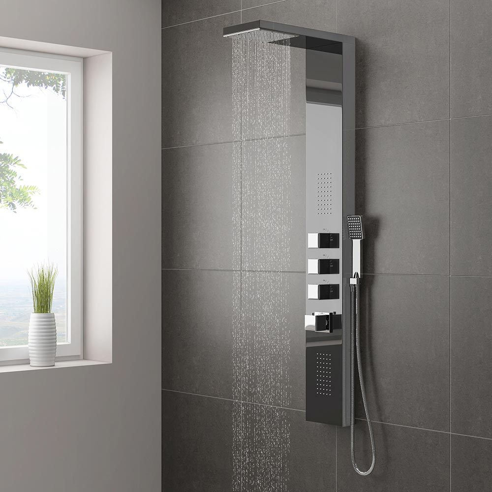 milan modern dark chrome tower shower panel from