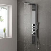Milan Shower Tower Panel - Dark Chrome (Thermostatic) Medium Image