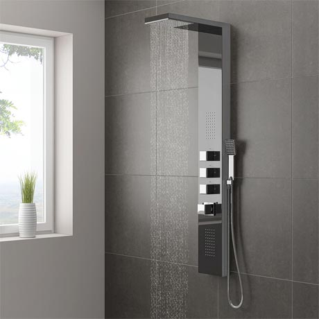 Milan Shower Tower Panel - Dark Chrome (Thermostatic)