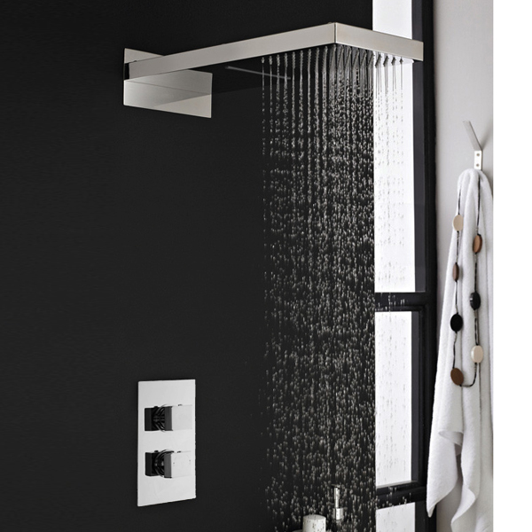 Milan Shower Valve with Built-in Diverter & Rainfall/Water Blade Shower Head Large Image
