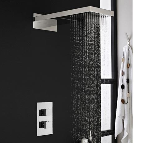 Milan Shower Valve with Built-in Diverter & Rainfall/Water Blade Shower Head