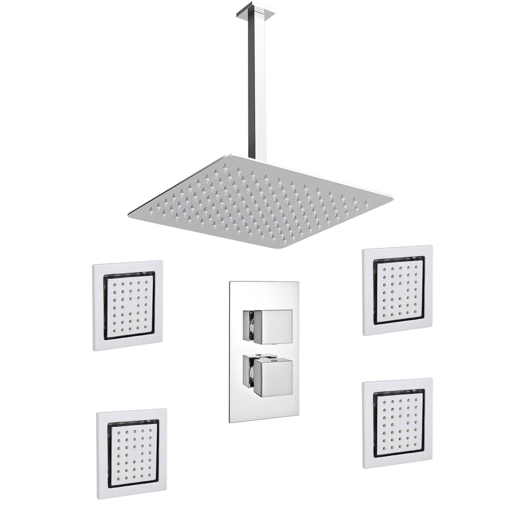 Milan Slim Shower Pack - Valve w Diverter, 300mm Fixed Head & 4 x Body Jets Large Image