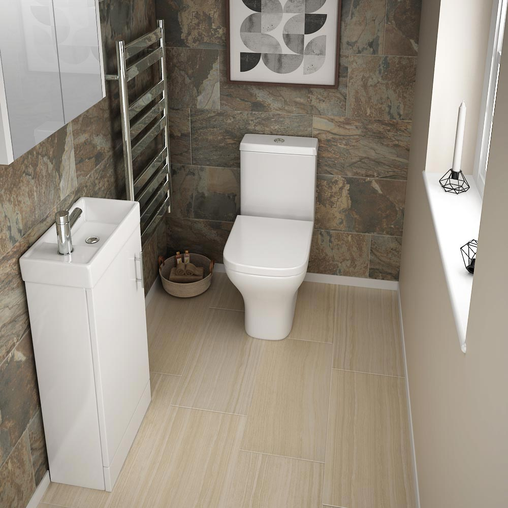 Milan Small Floor Standing Vanity Basin Unit - Gloss White (W400 x D222mm) profile large image view 2