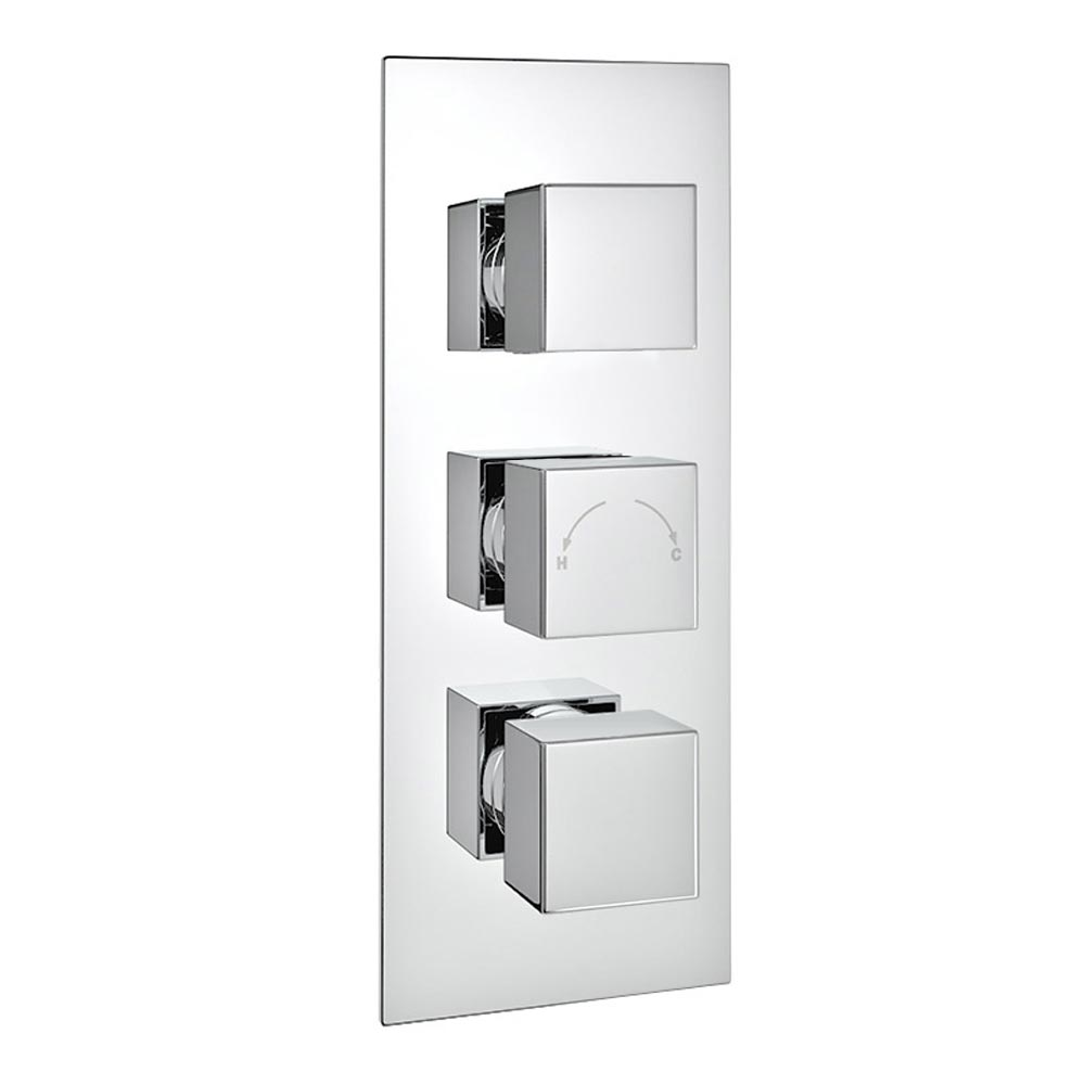 Milan Square Concealed Triple Shower Valve with Fixed Head & 4 Body Jets - Chrome Feature Large Image