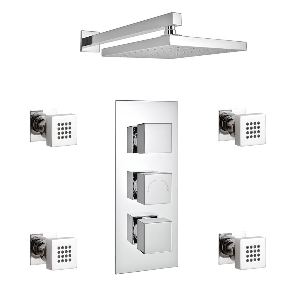 Milan Square Concealed Triple Shower Valve with Fixed Head & 4 Body Jets - Chrome profile large image view 4