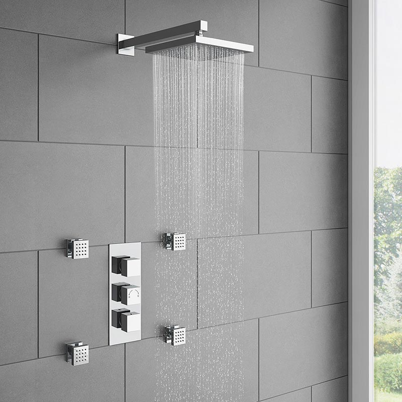 Milan Square Concealed Triple Shower Valve with Fixed Head & 4 Body Jets - Chrome Large Image