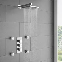 Milan Square Concealed Triple Shower Valve with Fixed Head & 4 Body Jets - Chrome Medium Image