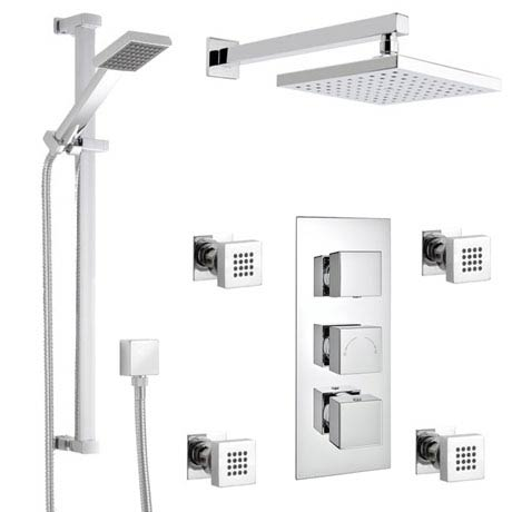 Milan Square Triple Shower Package with Diverter Valve, Head, 4 Body Jets & Slider