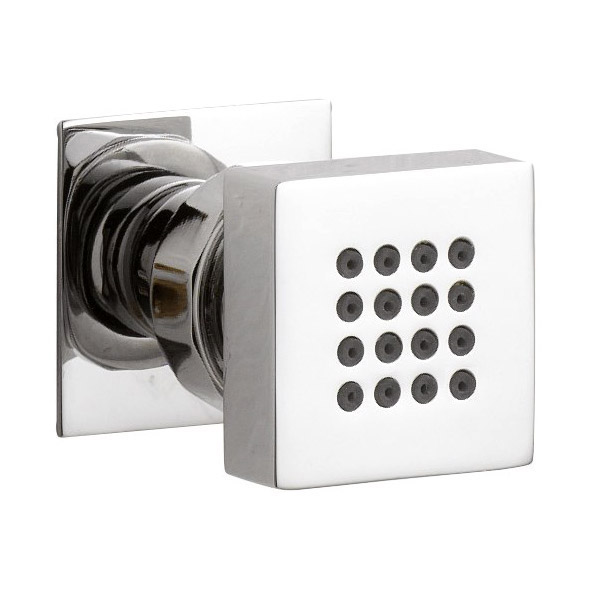 Milan Square Concealed Triple Shower Valve with Fixed Head & 4 Body Jets - Chrome profile large image view 2