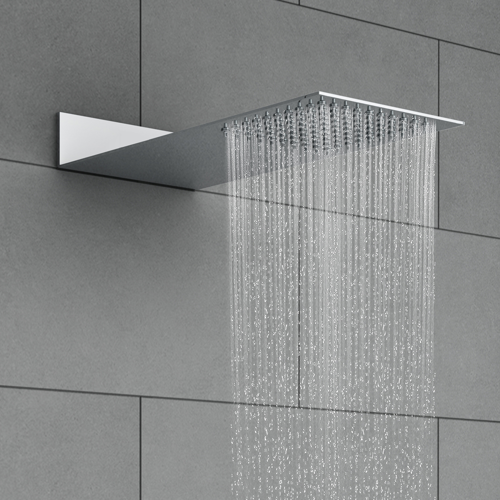 Milan Square Flat Fixed Shower Head (200 x 430mm) Profile Large Image