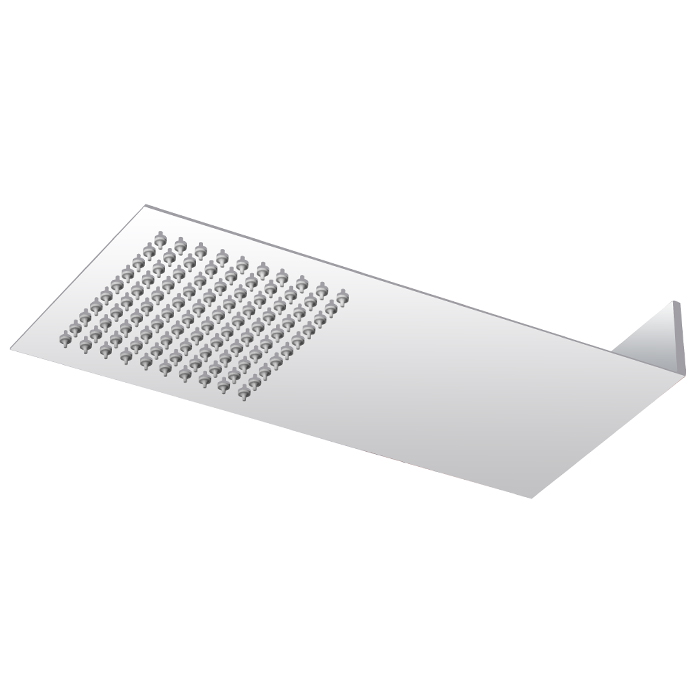 Milan Square Flat Fixed Shower Head (200 x 430mm) Large Image