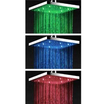 Milan 200 x 200mm Square LED Chrome Shower Head Medium Image