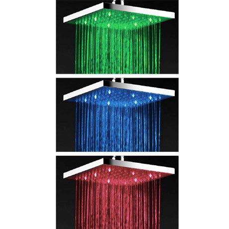 Milan 200 x 200mm Square LED Chrome Shower Head