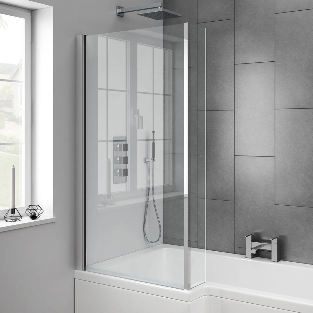 Milan Square Shower Bath - 1700mm Inc. Screen & MDF Panel In Bathroom Large Image