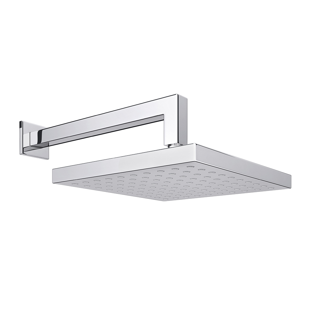 Milan Square Shower Head with Wall Mounted 90 Degree Bend Arm - 200x200mm Large Image
