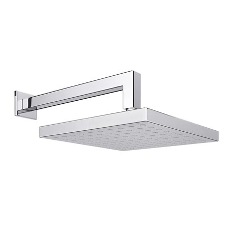 Milan Square Shower Head with Wall Mounted 90 Degree Bend Arm - 200x200mm