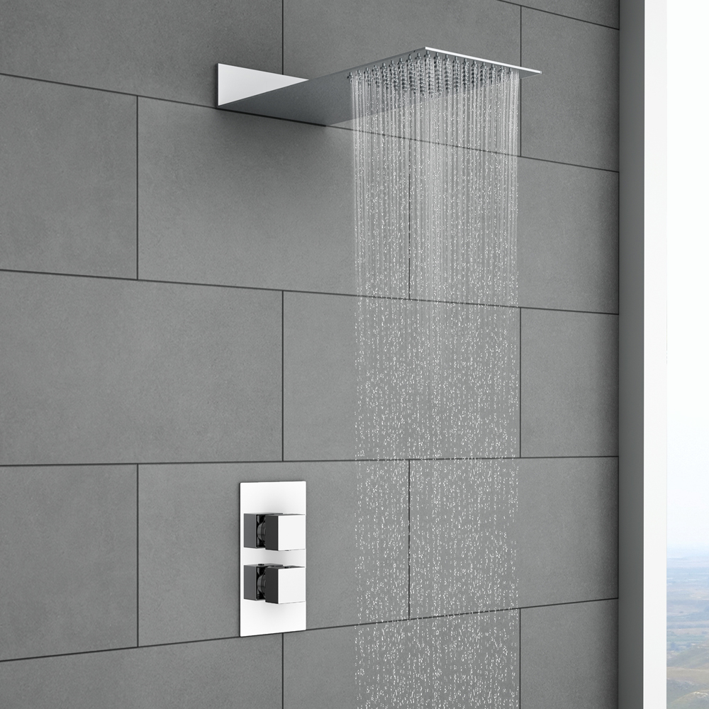 Milan Square Shower Package With Valve & Fixed Shower Head