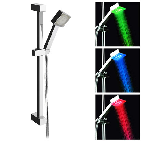 Milan Square Slider Rail Kit + LED Shower Handset
