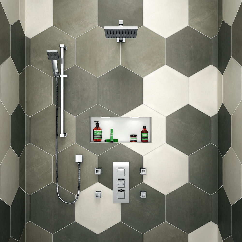 Milan Square Triple Shower Package with Diverter Valve, Head, 4 Body Jets + Slider