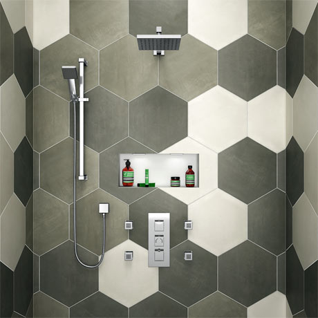 Milan Square Triple Shower Package with Diverter Valve, Head, 4 Body Jets + Slider