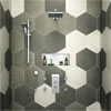 Milan Square Triple Shower Package with Diverter Valve, Head, 4 Body Jets + Slider Small Image
