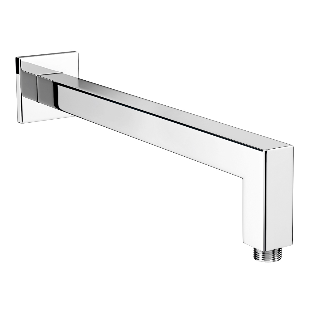 Milan Square Wall Mounted 90 Degree Bend Shower Arm 393mm   Chrome Medium  Image