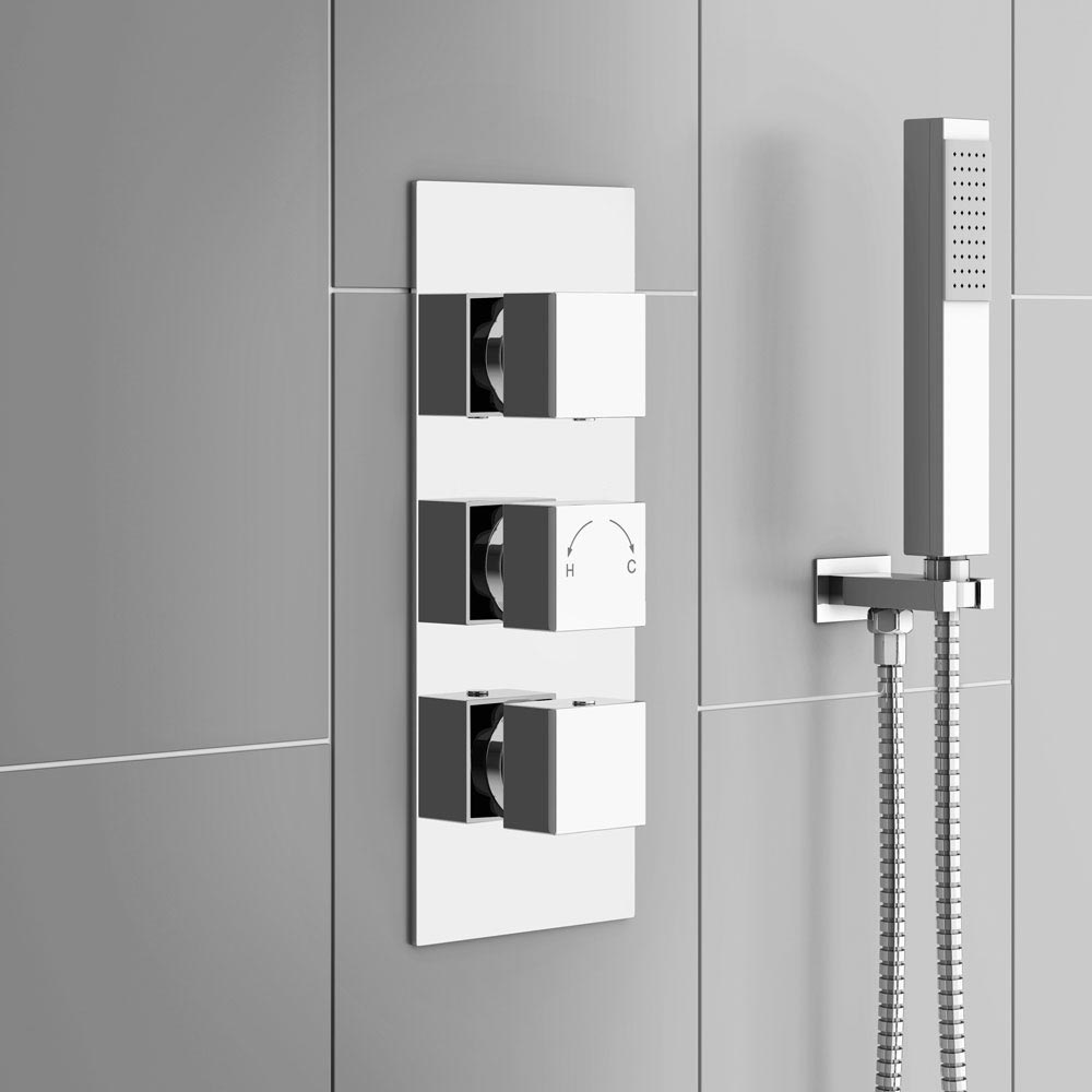 Milan Triple Square Concealed Thermostatic Shower Valve - Chrome profile large image view 4