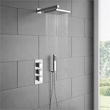 Milan Triple Thermostatic Shower Package with Head & Handset Medium Image
