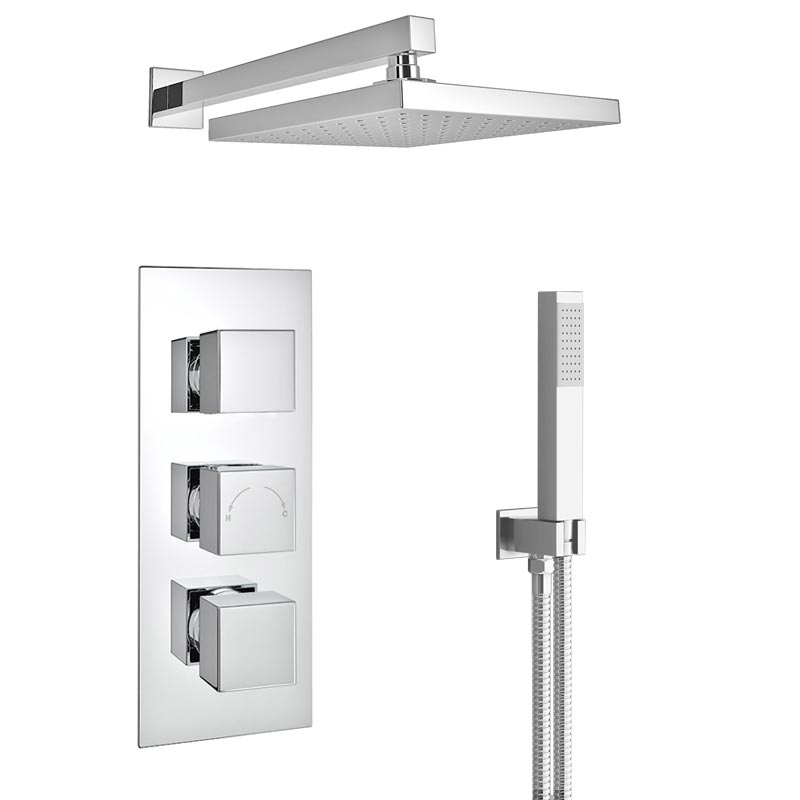 Milan Triple Thermostatic Shower Package with Head & Handset  Profile Large Image