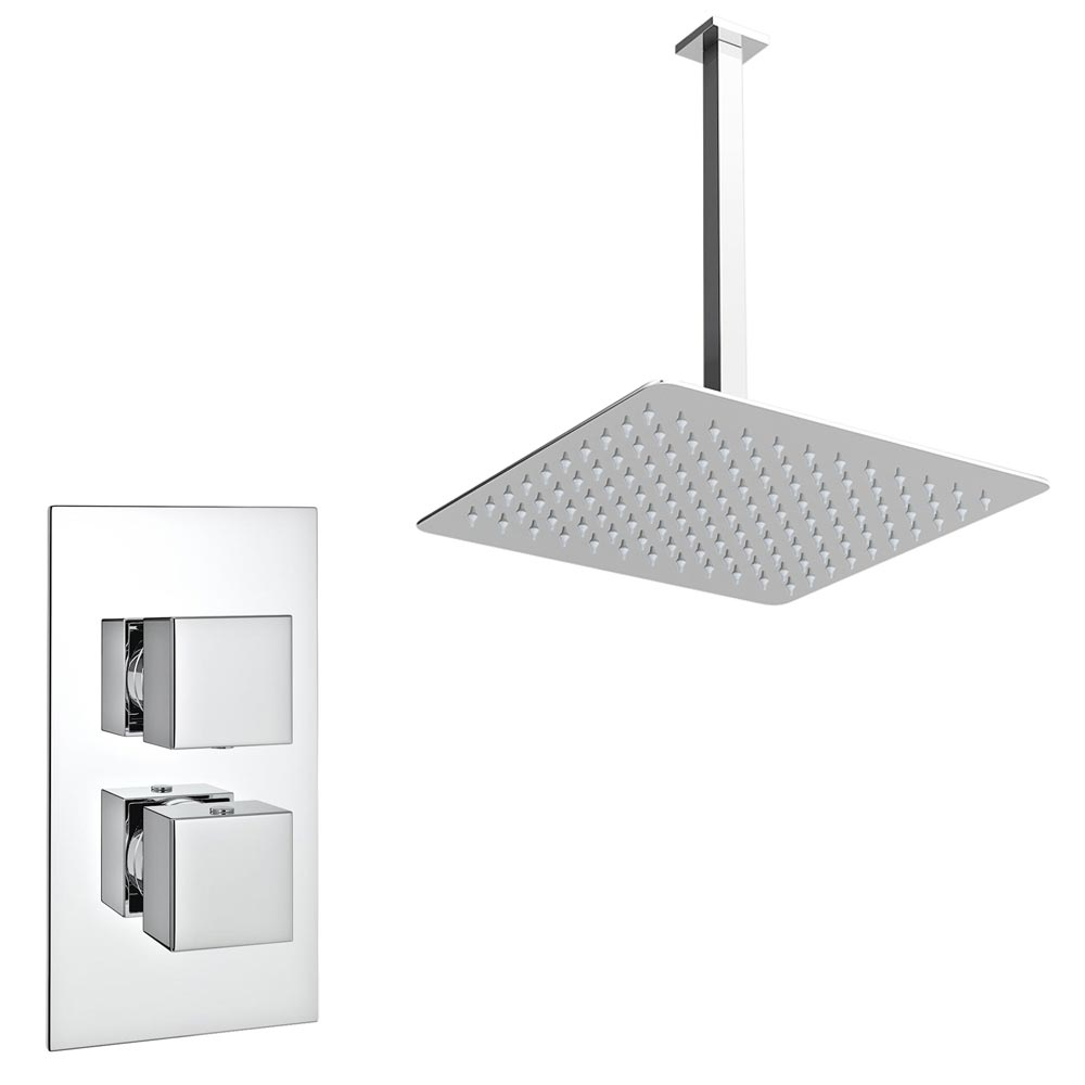 Milan Twin Concealed Shower Valve Inc. Ultra Thin Head + Vertical Arm profile large image view 1