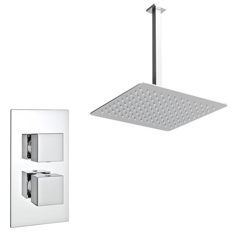 Milan Twin Concealed Shower Valve Inc. Ultra Thin Head with Vertical Arm