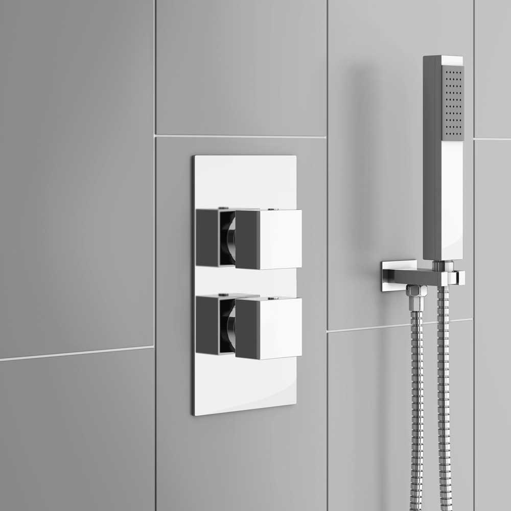 Milan Twin Modern Square Concealed Shower Valve - Chrome profile large image view 2