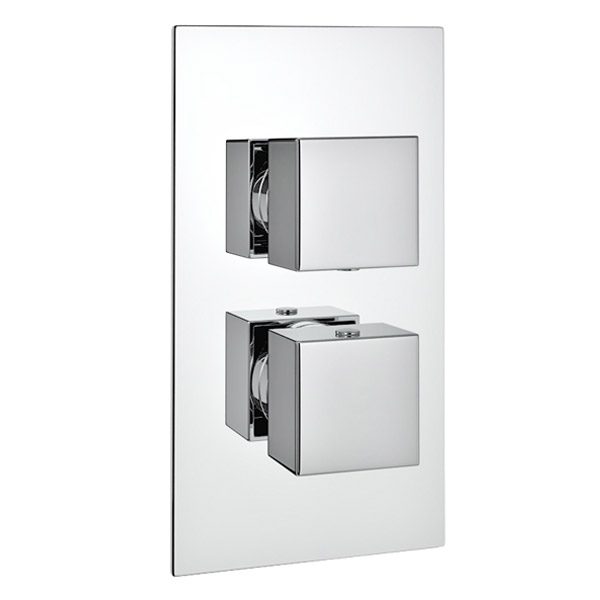 Milan Twin Modern Square Concealed Shower Valve - Chrome Large Image