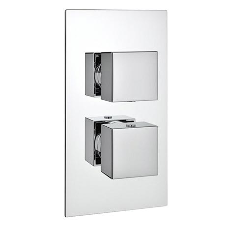 Milan Twin Modern Square Concealed Shower Valve - Chrome